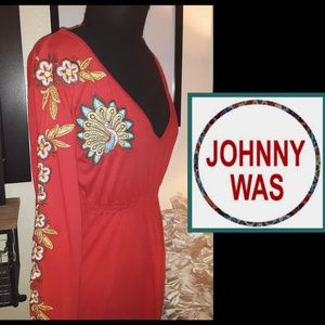 Worn Once! Johnny Was Empire Waist Peacock Dress!